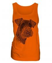 Airedale Terrier Sketch Ladies Vest