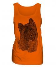 American Akita Sketch Ladies Vest