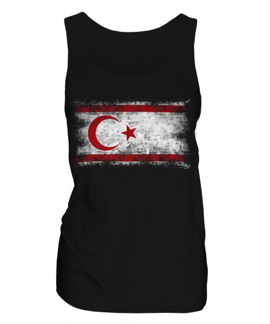 Turkish Republic Of Northern Cyprus Distressed Flag Ladies Vest