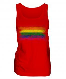 Gay Pride Distressed Flag Ladies Vest