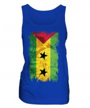 Sao Tome E Principe Grunge Flag Ladies Vest