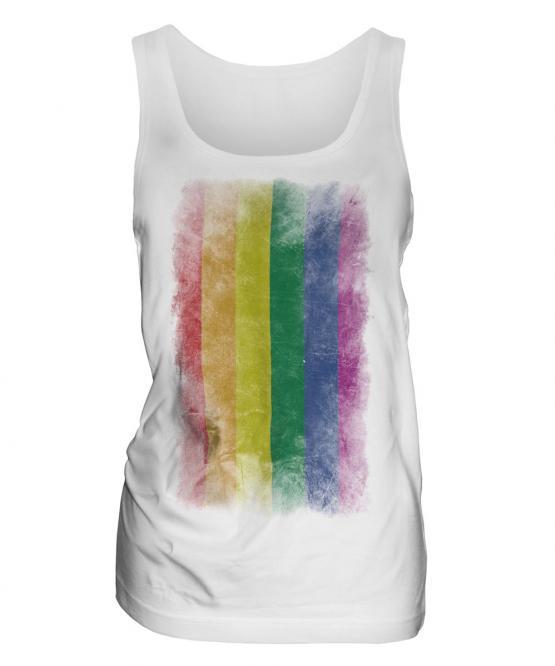 Gay Pride Faded Flag Ladies Vest
