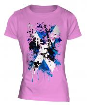 Scotland Flag Abstract Print Ladies T-Shirt