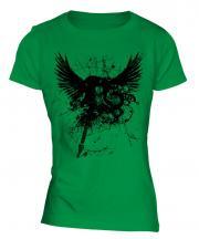 Grunge Guitar Tattoo Ladies T-Shirt