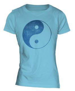 Yin Yang Distressed Print Ladies T-Shirt