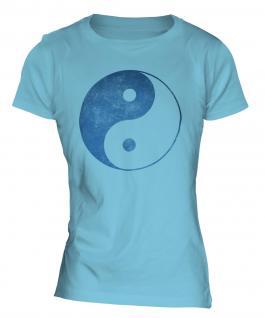 Yin Yang Distressed Print Ladies T-Shirt