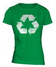 Recycle Distressed Print Ladies T-Shirt