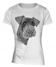 Airedale Terrier Sketch Ladies T-Shirt