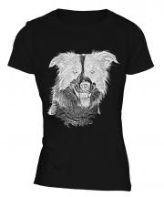 Border Collie Sketch Ladies T-Shirt