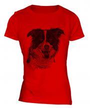 Border Collie Sketch Ladies T-Shirt