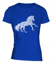 Rearing Horse Sketch Ladies T-Shirt