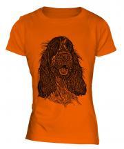 English Cocker Spaniel Sketch Ladies T-Shirt