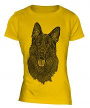 German Shepherd / Alsation Sketch Ladies T-Shirt