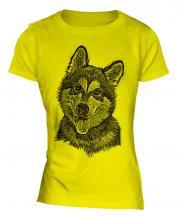 Alaskan Malamute Sketch Ladies T-Shirt