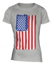 Stars And Stripes Painted Flag Ladies T-Shirt