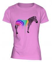 Rainbow Painted Zebra Ladies T-Shirt