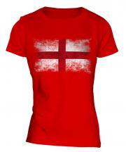 England St George Distressed Flag Ladies T-Shirt