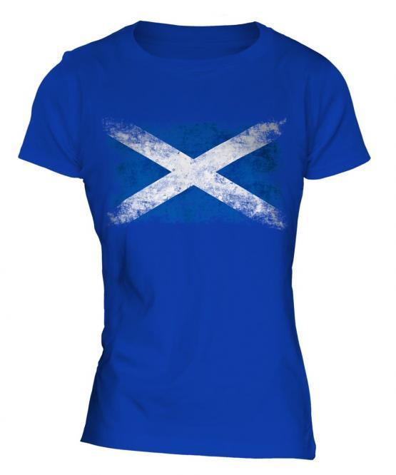 Scotland Distressed Flag Ladies T-Shirt