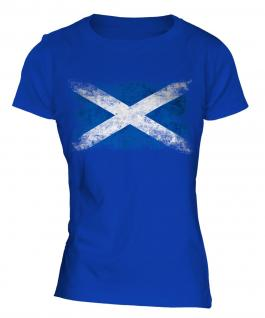 Scotland Distressed Flag Ladies T-Shirt