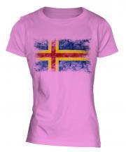 Aland Distressed Flag Ladies T-Shirt