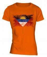 Antigua And Barbuda Distressed Flag Ladies T-Shirt