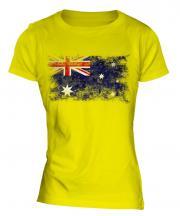 Australia Distressed Flag Ladies T-Shirt