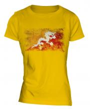 Bhutan Distressed Flag Ladies T-Shirt