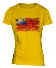 Burma Distressed Flag Ladies T-Shirt
