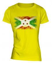 Burundi Distressed Flag Ladies T-Shirt