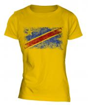 Democratic Rep. Of Congo Distressed Flag Ladies T-Shirt