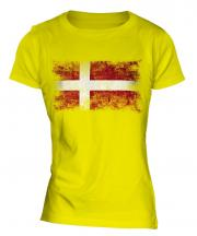 Denmark Distressed Flag Ladies T-Shirt