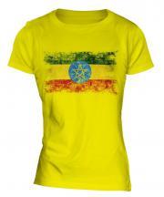 Ethiopa Distressed Flag Ladies T-Shirt