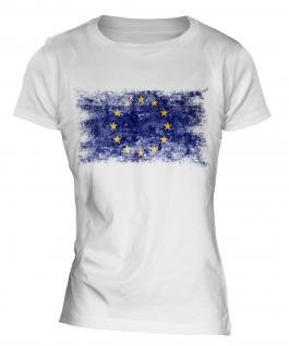 European Union Distressed Flag Ladies T-Shirt