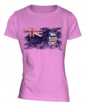 Falkland Islands Distressed Flag Ladies T-Shirt
