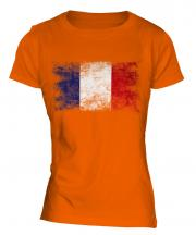 France Distressed Flag Ladies T-Shirt