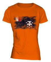 French Southern And Antarctic Lands Distressed Flag Ladies T-Shirt