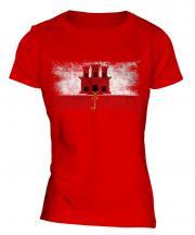 Gibraltar Distressed Flag Ladies T-Shirt