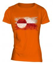 Greenland Distressed Flag Ladies T-Shirt
