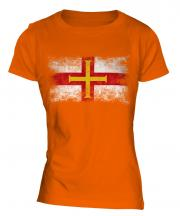 Guernsey Distressed Flag Ladies T-Shirt