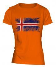 Iceland Distressed Flag Ladies T-Shirt
