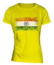India Distressed Flag Ladies T-Shirt
