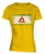 Ingushetia Distressed Flag Ladies T-Shirt
