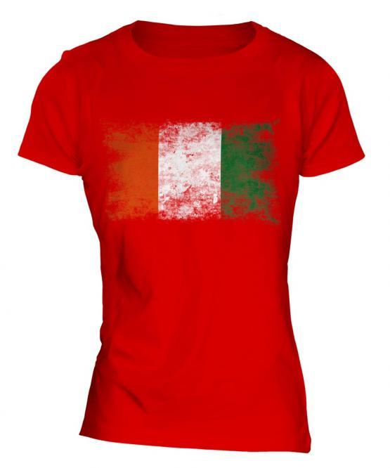 Ivory Coast Distressed Flag Ladies T-Shirt