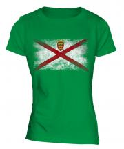 Jersey Distressed Flag Ladies T-Shirt