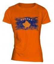 Kosovo Distressed Flag Ladies T-Shirt