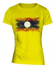 Laos Distressed Flag Ladies T-Shirt