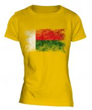 Madagascar Distressed Flag Ladies T-Shirt