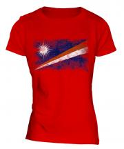 Marshall Islands Distressed Flag Ladies T-Shirt