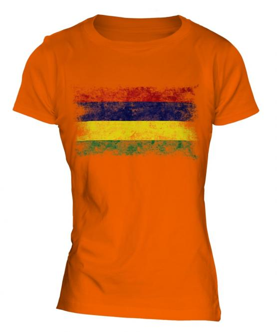 Mauritius Distressed Flag Ladies T-Shirt