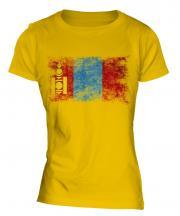 Mongolia Distressed Flag Ladies T-Shirt